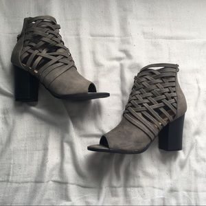 {DIBA} strappy gray block heels